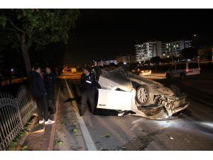 Otomobiliyle takla atan alkollü sürücü yaya olarak kaçtı