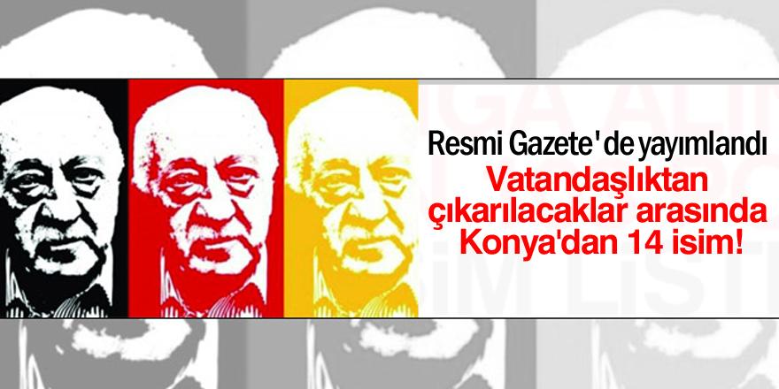 Vatandaşlıktan çıkarılacaklar arasında Konya'dan 14 isim
