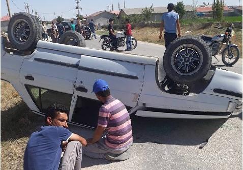 Eskil'de trafik kazası! Takla atan araçta burnu bile kanamadı