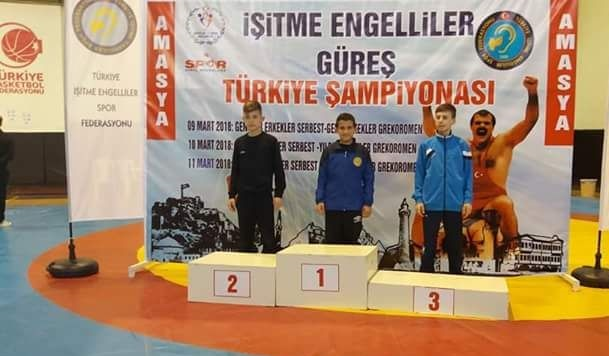 Eskilli İşitme Engelli Güreşçi Türkiye Şampiyonu Oldu