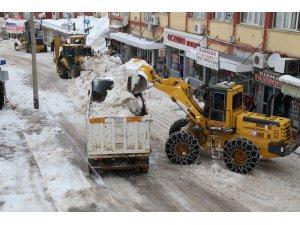 Kar yığınları kamyonlarla şehir dışına taşınıyor
