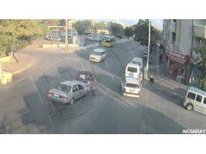 Aksaray'da dikkatsizlik sonucu yaşanan kaza şehir polis kamerasında
