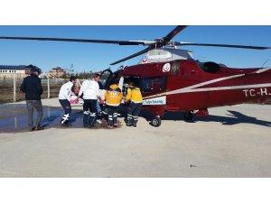 Konya'da kalp krizi geçiren hastaya hava ambulansı