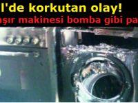Eskil'de korkutan olay! Çamaşır makinesi bomba gibi patladı