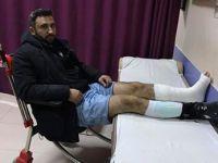 Eskil'deki turnuvada oyuncunun ayağı kırıldı