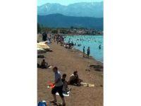 Konya'nın denizinde plajlara yoğun ilgi