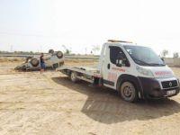 Eşmekaya'da Lastiği Patlayan Araç Takla Attı 1 Yaralı
