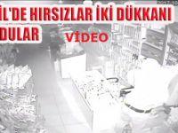 Eskil merkezde hırsızlar iki dükkanı böyle soydular VİDEO