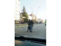 Şarjlı bisikletle tek teker üzerinde tehlikeli yolculuk