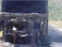 Teröristler Diyarbakır'da Altınekinli sürücünün tırını yaktı