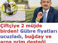 Bakan Pakdemirli'den çiftçiye iki önemli müjde!