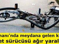 Sultanhanında meydana gelen kazada bisiklet sürücüsü ağır yaralandı
