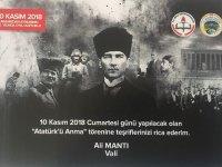 Vali Mantı'nın 10 Kasım Atatürk'ü Anma Günü Mesajı
