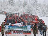Beyşehir'de Sarıkamış şehitleri kar yağışı altında anıldı