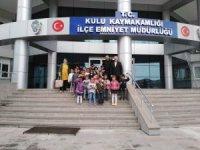 Kulu'da ana sınıfı öğrencilerinden polise ziyaret