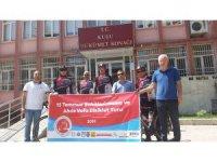 15 Temmuz şehitleri için pedal çeviren 3 öğretmen Kulu'da