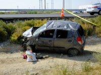 Bozcamahmut'ta otomobil takla attı: 1 ölü, 2 yaralı