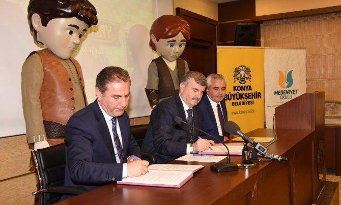Konya Büyükşehir Belediyesi,'Emiray' çizgi dizisi için TRT ile protokol imzalandı