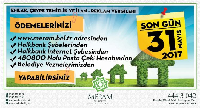 Meram Belediyesi'nde hafta sonu 'Emlak Vergisi' mesaisi
