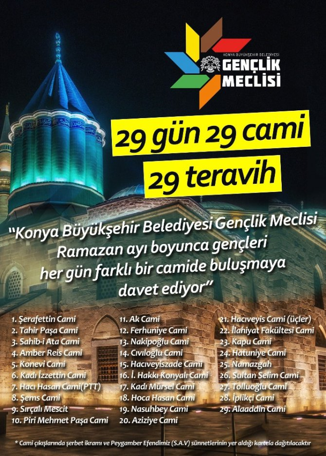 """Gençlik Meclisinden """"29 gün, 29 cami, 29 teravih"""" etkinliği"""