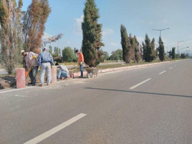 Seydişehir'de damlama sulama hattı yenileme ve çimlendirme çalışması