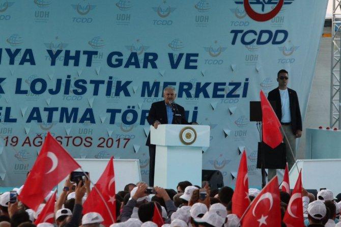 Başbakan Yıldırım, Konya YHT Garı ile Kayacık Lojistik Merkezi'nin temelini attı