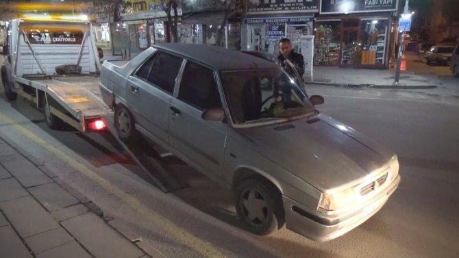 Ters yolda yakalanan sürücünün aracına el konuldu