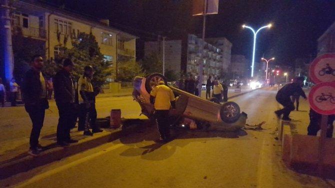 Konya'da kontrolden çıkan otomobil takla attı: 1 yaralı