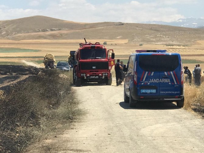 Ereğli'de hububat ekili arazide yangın