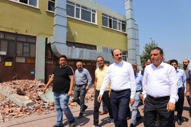 Başkan Altay'dan yanan silah fabrikasında inceleme