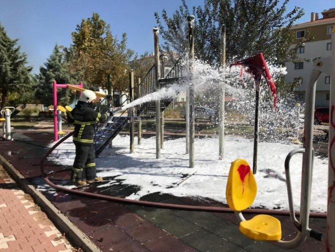 Aksaray'da çocuk parkı kundaklandı