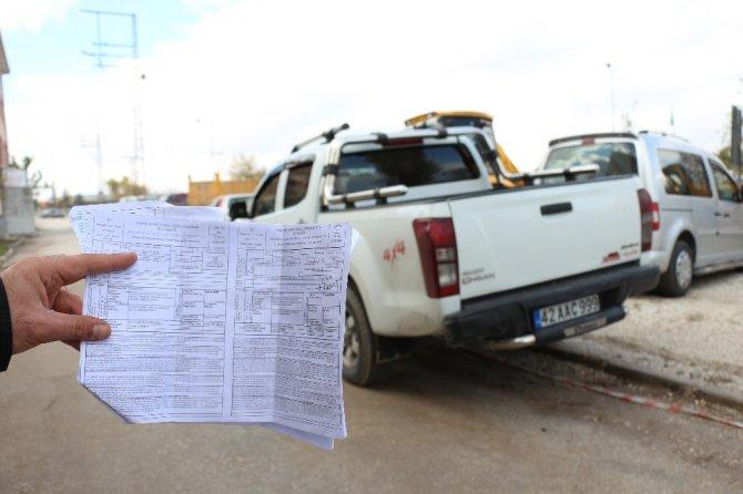 Konya'daki kamyonete İstanbul'dan ceza kesildi