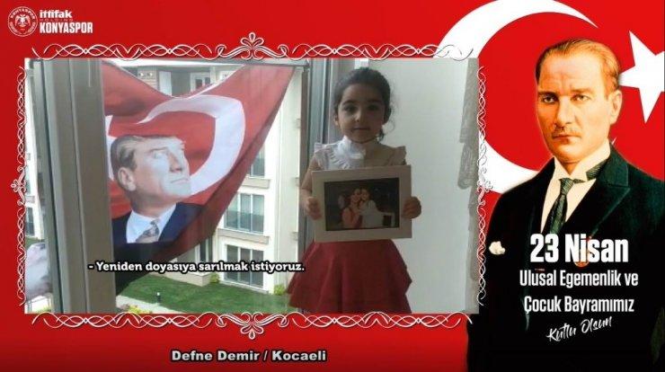 Konyaspor'dan sağlık çalışanlarının çocuklarıyla 23 Nisan klibi