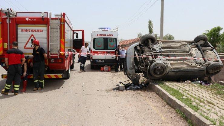 Aksaray'da otomobil takla attı: 1 ölü, 1 ağır yaralı