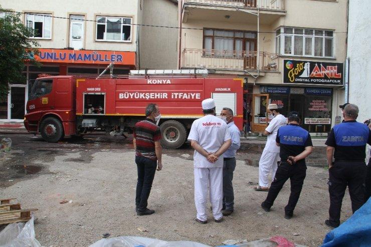 Konya'da baca yangını korkuttu