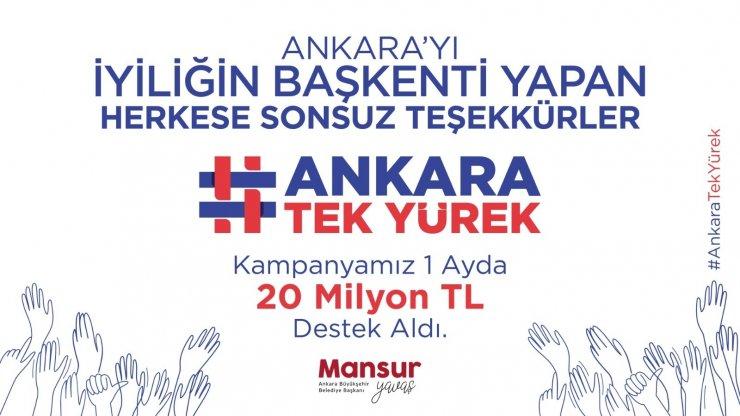 "Başkent'te ""6 Milyon Tek Yürek"" kampanyası 20 milyon TL'yi geçti"
