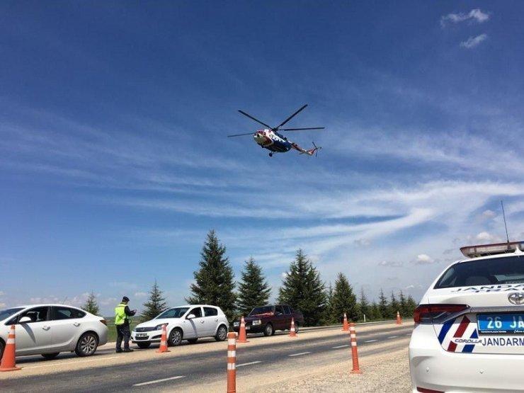 """""""Helikopter Destekli Trafik Denetimi"""" kurallara uymayan 27 sürücüye ceza"""