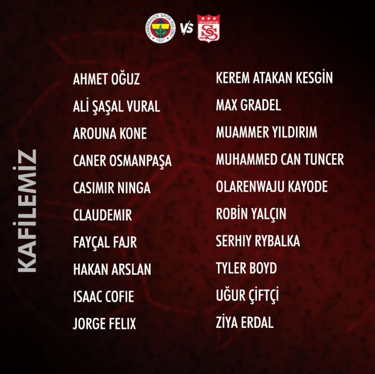 Sivasspor'un Fenerbahçe kafilesi belli oldu!