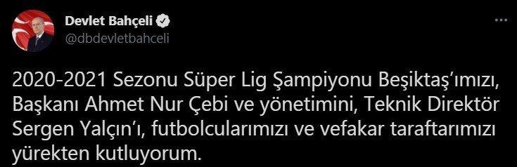 MHP lideri Bahçeli, şampiyon Beşiktaş'ı kutladı