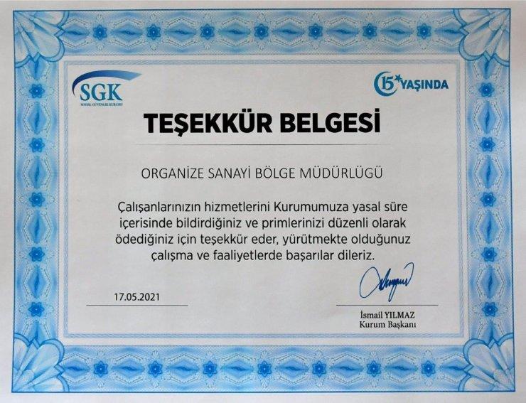 SGK'dan Kayseri OSB'ye teşekkür