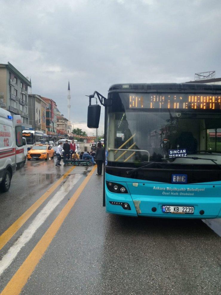Başkent'te halk otobüsünün çarptığı yaya yaralandı