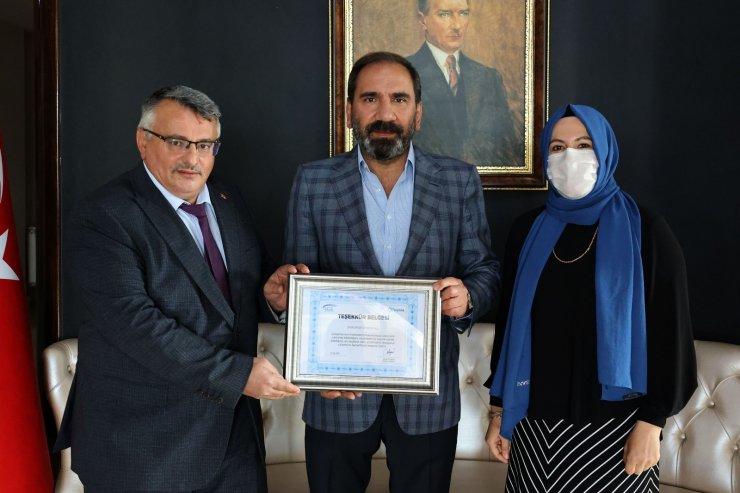 Sivasspor Kulübü'ne teşekkür belgesi