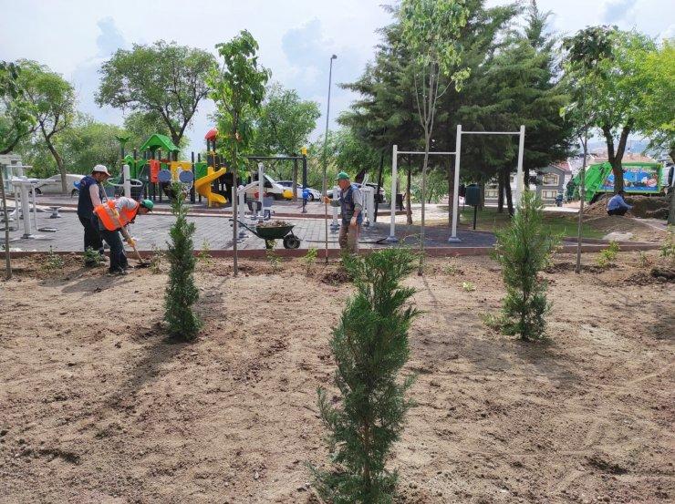 Keçiören'deki parklarda yeşil alan uygulaması
