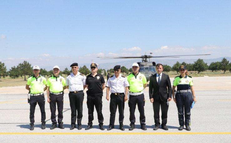 Eskişehir'de helikopter destekli trafik denetimi