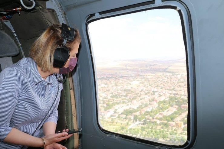 Nevşehir'de helikopterle trafik denetimi
