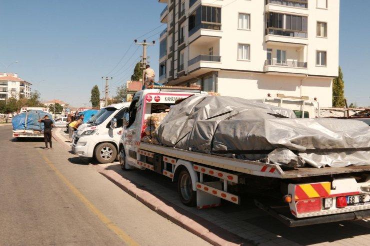 Aksaraylı oto çekiciler bu sefer araç değil yardım taşıdı